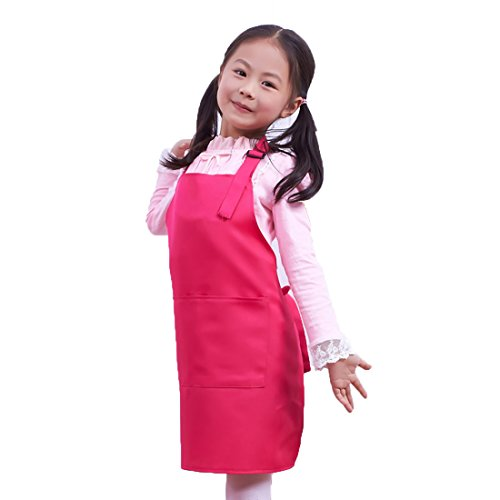 LissomPlume Kind Malschürze Kunstkittel Kinderschürze Kochschürze Arbeitsschürze Painting Supplies - rosarot