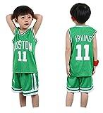 Conjuntos de Pantalones Cortos Deportivos para niños Baloncesto Jersey Celtics Irving # 11 Boy Girls Jerseys Trajes de Verano Top Short Set para niños Ropa Deportiva para bebés-Green-XXS