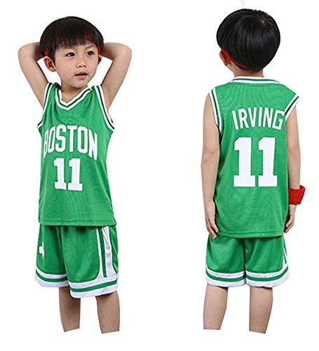 Kinder Sport Shorts Sets Basketball Trikot Celtics Irving # 11 Jungen Mädchen Trikots Sommeranzüge Top Short Set für Kinder Baby Sportswear-Green-XL