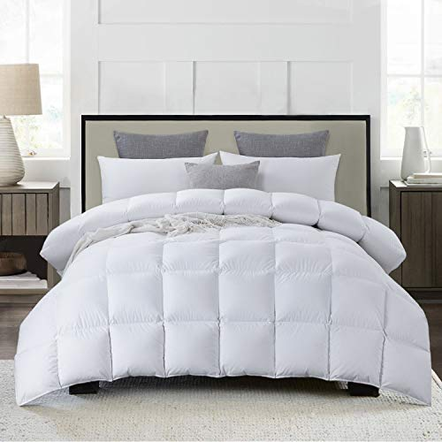 """Luxurious 120""""x98"""" Oversized King Goose Feather Down Comforter King Size Duvet Insert, 63 oz Filling, 600+ Cleanliness, 100% Cotton Shell Down Proof with 8 Corner Tabs Hypo-allergenic All Seasons"""