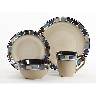 Gibson Elite Casa Azul Reactive Glaze 16 Piece Dinnerware Set, Cream and Blue