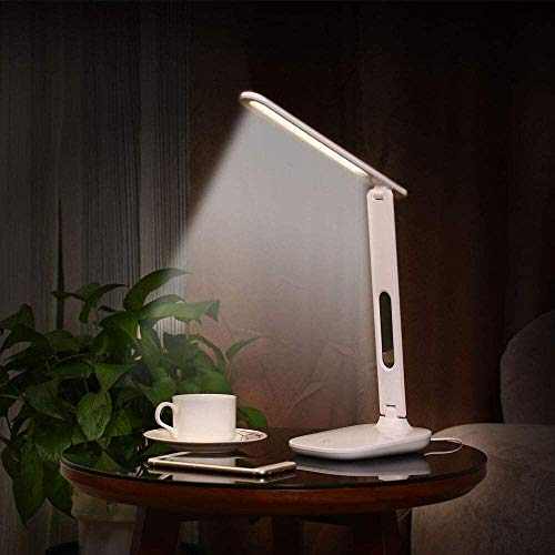 QIURUIXIANG - Lámparas LED plegables, lámpara de ojo, con puerto de carga USB regulable lámpara oficina, tres tipos de modos de iluminación, control táctil