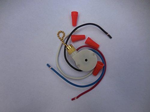 Zing Ear Ventilador de techo Tire cadena 3Control de velocidad Interruptor ze-208s e89885–Interruptor de control de velocidad para ventilador de techo velocidad de 3/4Alambre Zing Ear