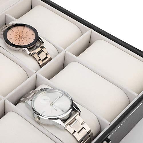 Caja de reloj portátil de poliuretano con 10 ranuras para relojes, joyeros, vitrina de joyería de cristal, vitrina de joyería, accesorios de almacenamiento
