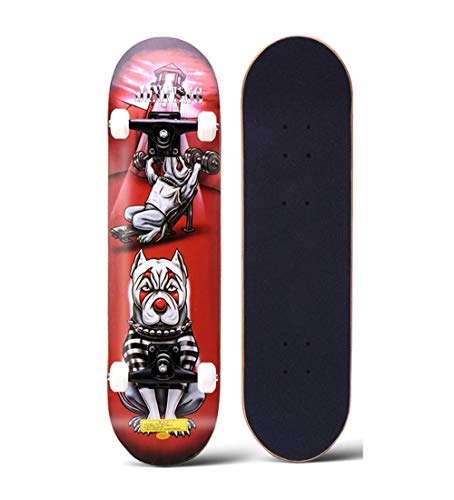 HHXWU Skateboard Profi Skateboard Doppel Skateboard Anfänger Erwachsene vierrädrige Skateboard Bulldogge