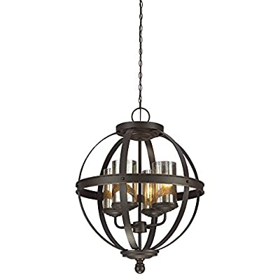 Sea Gull Lighting Sfera Four-Light Chandelier with Mercury Glass