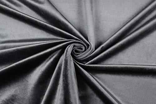 Escalano Möbelstoff Weicher Samt Velvet Velours Bezugsstoff Polsterstoff Dekostoff Sofa Couch Stuhl Sessel (2. Dunkelgrau)