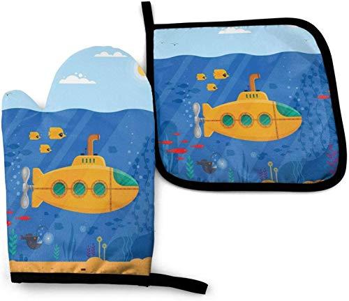 MODORSAN Gelbe U-Boot Periskop Küchenofenhandschuhe und Topflappen 2er-Set, beständige wasserdichte Polyester-Ofenhandschuhe Küchenhandschuhe zum Kochen Backen