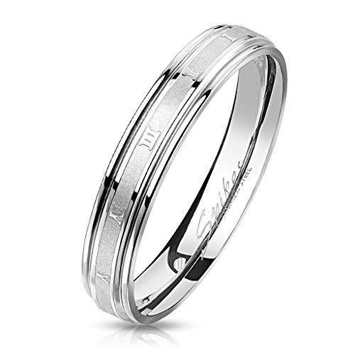Bungsa 62 (19.7) Römische Nummern Ring Edelstahl Silber gebürstet I II III IV V VI VII VIII IX X XI XII für Damen & Herren 49-72 (Fingerring Modering Schmuck Partnerringe Verlobungsringe Trauringe)