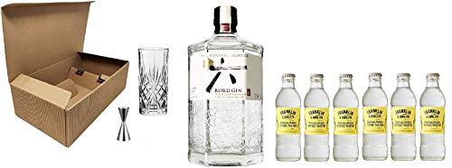 Cofanetto Kit Gin Tonic -ROKU- Ballon in Vetro + Roku Gin 43% 70 cl + Tonic Water Franklin & Sons 200 ml + Misurino Dosatore (Indian Tonic, 6)