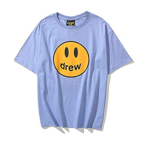Drew House T Shirt Bieber Smiley Face Fashion Pure Cotton Shirts Loose Casual Tee for Teens Youth Blue