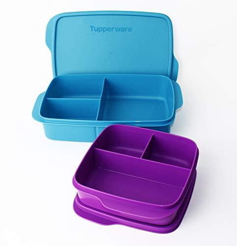 Clevere Pause TUPPERWARE to Go Lunchbox 1L Türkis + 550ml Fuschia mit 3-Fach Einteilung + k Kiwilöffel