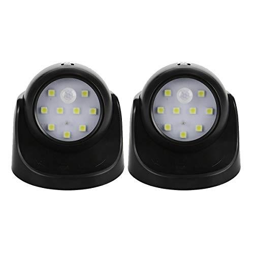 iMeshbean LED Nachtlicht mit Bewegungssensor, LED Strahler mit Bewegungsmelder 360 Grad Drehbare Sicherheitslicht Wandleuchte Notlicht, Geeignet für Drinnen und Draußen (Schwarz, 2 Stück)