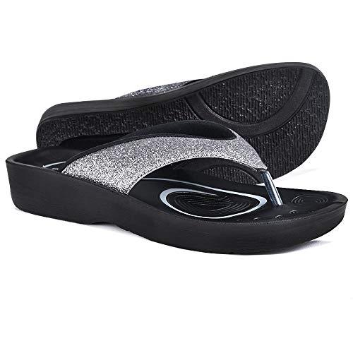 AEROTHOTIC Women's Comfortable Orthotic Flip-Flops Sandal (US Women 9, Crystal Grey)