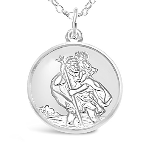 Sterling Silver St Christopher Medal with 18' Chain - Plane, Boat and Car on Back & Jewellery Gift Box