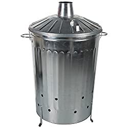 CrazyGadget® Extra Large Galvanised Metal Incinerator Fire Burning Bin with Special Locking Lid (125 Litre)