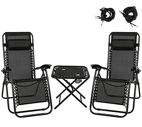 Folding Recliner Zero Gravity Garden Chair Set of 2, Heavy Duty Textoline Sun Lounger with Folding Table and Adjustable Head Pillow -Outdoor Garden Chair for Garden Patio Camping (black)