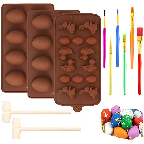 Easter Chocolate Mold Eggs Silicone Mold Half Egg Bunny Chocolate Mold with 6 Cake Brushes and 2 Wooden Hammers for Easter Day Decorating Home Kitchen Diy Cake Baking