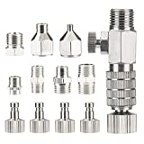 13 Pieces Airbrush Adapter Set,Including 7 Pieces of Spray Gun Adapter Kit and 6 Pieces of Spray Pen Quick Adapter with Adjusting Valve, for Air Compressor and Spray Gun Hose