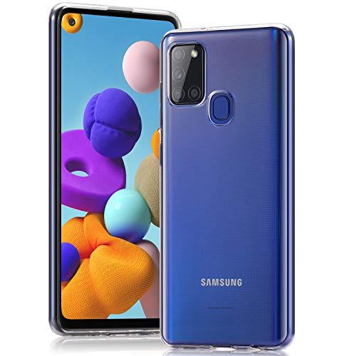 Wonanse Cover per Samsung Galaxy A21s Custodia, [Anti-Giallo] [Ultra Sottile] [Cristallino] [Antiurto] [Protezione da Caduta] Morbida in Silicone TPU Custodia per Samsung Galaxy A21s – Trasparente