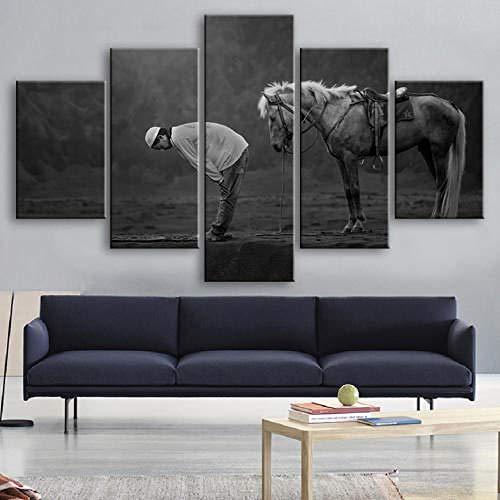 TOPRUN 5 Piezas Cuadro sobre Lienzo De Fotos Animales Caballo Musulmanes Lienzo Impresión Cuadros Decoracion Salon Grandes Cuadros para Dormitorios Modernos Mural Pared Listo para Colgar