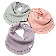 Indi by Kishu Baby - Infinity Scarf Bibs - Organic Muslin Drool Bib for Girls or Boys with Snaps - 100% Organic Cotton Muslin - 3 Luxuriously Soft, Solid Color Bandana Bibs (Sage Lavender Peach)