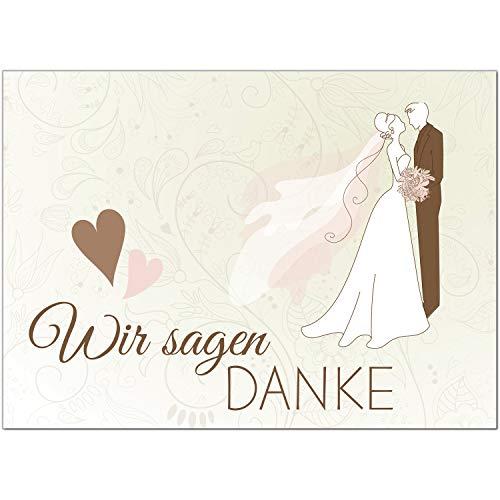 15 x Hochzeits-Dankeskarten - Motiv Brautpaar mit Herz Wir sagen Danke - Danksagungskarten für Ehepaare um Danke zu sagen nach Hochzeit, Polterabend oder Hochzeitsfeier