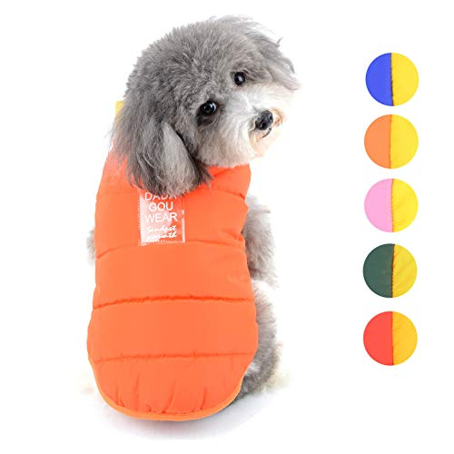 Ranphy Chaqueta de forro polar para perros pequeños con anilla de correa, chaleco acolchado cachorros de invierno, chaqueta para clima frío, chaqueta perro, suéter colorido trajes gruesos y cálidos