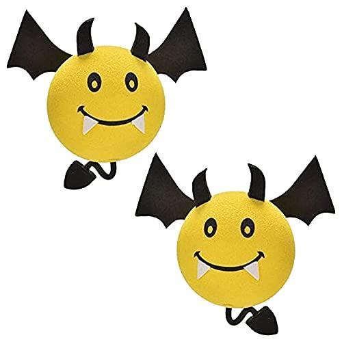 2 Pcs Car Antenna Topper Lovely Yellow Devil Aerial Ball EVA Foam Antenna...