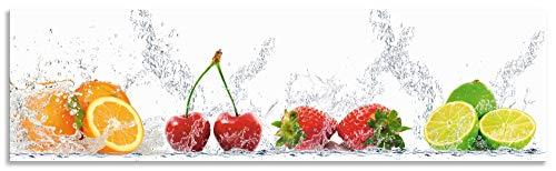 Artland Spritzschutz Küche aus Alu für Herd Spüle 180x50 cm Küchenrückwand mit Motiv Essen Obst Früchte Erbeeren Limette Orange Modern Hell Bunt S6JP