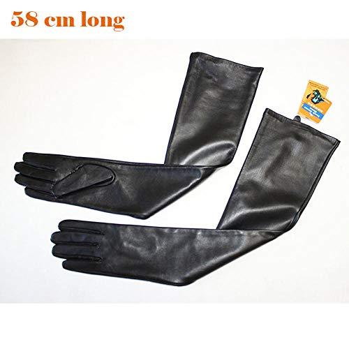 Lange Lederhandschuhe weibliches Touchscreen schwarzes Schaffell am Ellenbogen Lange Handschuhe Samtfutter Winter warm-58 cm Lange Handschuhe_7