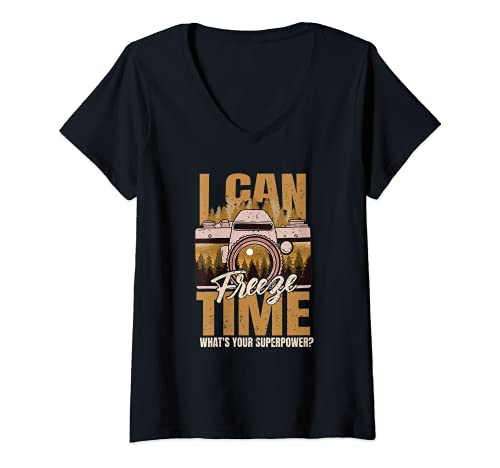 Mujer Puedo congelar el tiempo ¿Cuál es tu superpoder? Fotógrafo de cámara Camiseta Cuello V