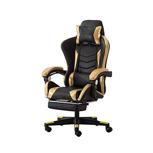 Computer Stuhl High Back Racing Stuhl mit Massagefunktion Ergonomischer Büro-Schreibtisch-Stuhl höhenverstellbar Racing Gaming Stuhl mit Kopfstütze und Rückenstütze (Color : Black Gold)