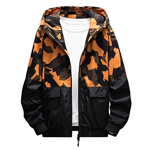 MAYOGO Softshell Jacke Herren Regenjacke Casual Camouflage Jacke Sweatjacke Dünne Übergangsjacke Zip Kapuzenjacke Outdoor Jacke (Gelb, XXL/EU:40)