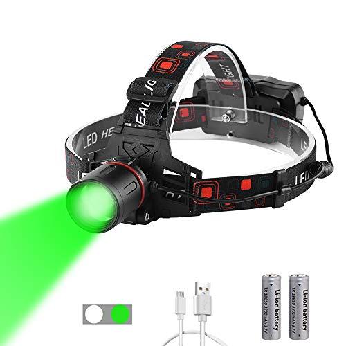 WESLITE Linterna Frontal Verde para Visión Nocturna, Linternas Frontales Verde LED Alta Potencia para Caza con Zoom Linterna de Cabeza Luz Verde para Caza, Pesca, Camping (Luz Blanca y Verde)