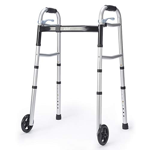 Zler Narrow Folding Walker for Seniors with Trigger Release and 5 Inches Wheels, Lightweight Supports up to 300 lb