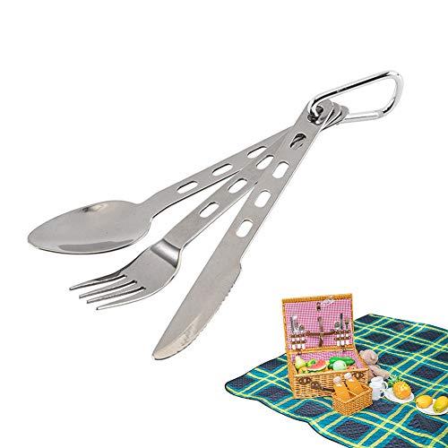 Cubiertos de Viaje para Exteriores, 3 piezas Cubiertos de Camping Juegos de Cubiertos Cuchillos Tenedores Cucharas Acero Inoxidable de picnic