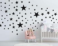 50 Sterne Wandtattoo fürs Kinderzimmer - Wandsticker Set - Pastell Farben, Baby Sternenhimmel zum Kleben Wandaufkleber Sticker Wanddeko - Wandfolie, Kleinkinder, Erstausstattung auf Rauhfaser Schwarz