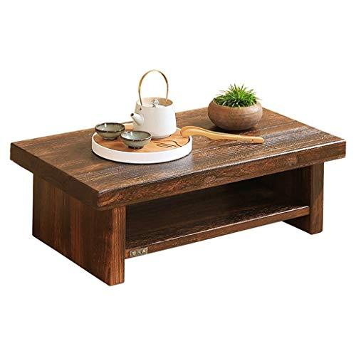 Tables basses Meubles en Bois Massif Maison Petite Table à thé Salon Solide lit Table à Manger Bois Table d'ordinateur, roulement de Charge élevée Tables (Color : Wood, Size : 68 * 35 * 20cm)