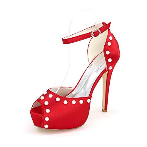 Zapatos De Dama De Honor De Novia con Punta Abierta Tacones Altos...
