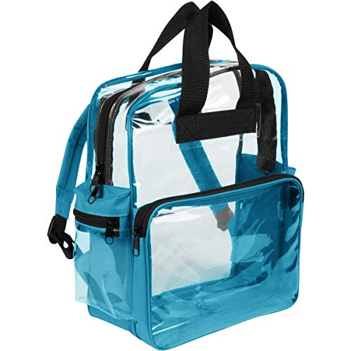 Nufazes Clear Backpack - See Through Daypack Clear Backpacks Teal