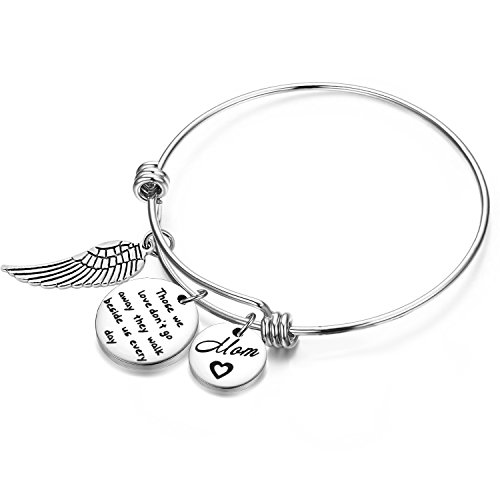 Zuo Bao Memorial Bracelet in Memory of Dad Mom Sympathy Gift Those We Love Don't Go Away They Walk Beside Us Every Day Loss Jewelry for Her (in Memory of Mom)