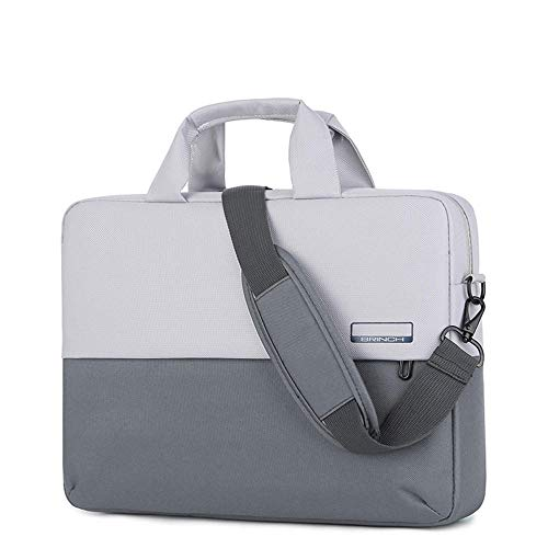 Men's and Women's Clamshell Laptop and Tablet Shoulder Bags, Business Bag briefcases with Handles, specifically Designed to Hold 15-15.6 inches, black-15.6in_Contrast_Color-Dark_Gray