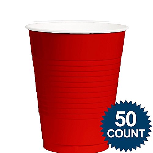 Red Reusable Plastic Cups For Parties, 12 Oz., 50 Ct.