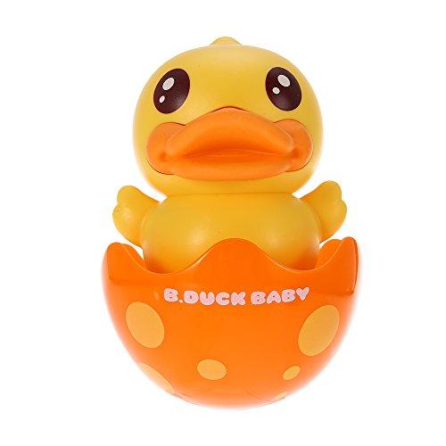 Fesjoy Roly-poly Duck Juguete vaso de bebé con campana Mordedor Wobbling & Chiming Toy para niño Niños Coordinación de ojo de mano y oído Motor Skills amarillo