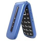 Ushining 3G - Teléfono móvil para personas mayores, teléfono móvil de concha con botones grandes y volumen alto, función SOS, base de carga de 2,4 pulgadas, para personas mayores, fácil de usar - Azul
