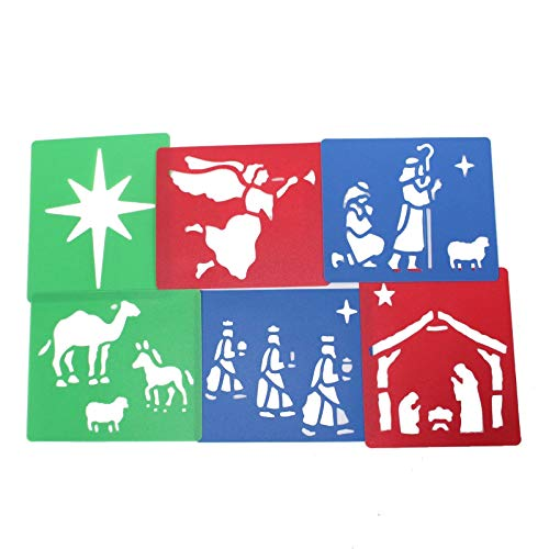 Nativity Stencils for Children's Arts and Crafts Washable Stencil Pack of 6 - Depicting Nativity Scenes - Approximately Size 13cm x 15.5cm