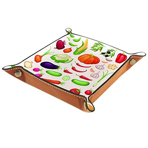 Bennigiry Vektor-Ikonen-Set aus frischem organischem Gemüse, bedrucktes Leder-Schmuckkästchen für Geldbörsen, Uhren, Schlüssel, Münzen, Handys und Bürogeräte, Mikrofaser-Leder, Multi, 20.5x20.5cm