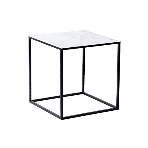 Table XIAOYAN Basse Basse, Basse, Salon, Petit Appartement, Basse en Fer Forgé-42 * 40cm Multifonctionnel (Couleur : Carrara White)