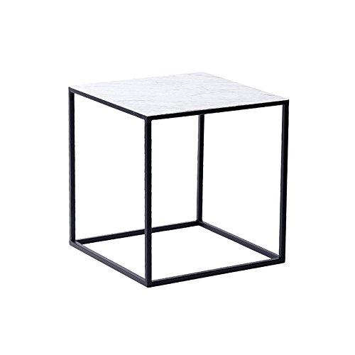 Tables HUO, Basse, Basse, Salon, Petit Appartement, Basse en Fer Forgé-42 * 40cm Polyvalent (Couleur : Carrara White)